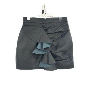 Free People Understated Black Ruffle Leather Skirt